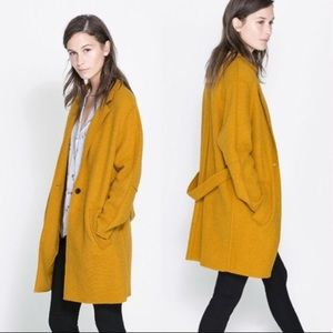 Zara Basics yellow wool pea coat
